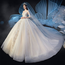 Starry sky main wedding dress 2019 new temperament bride V-neck luxury heavy industry all tailed Royal Princess Sen