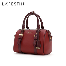 Lafite 2019 new fashion red one shoulder messenger women's bag temperament handbag Boston handbag trend