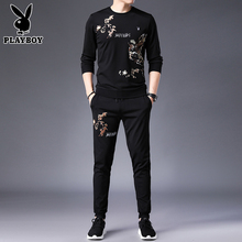 Playboy clothes men spring and autumn long sleeved T-shirt set up the tide net, red men's suit.