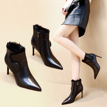 Leather high-heeled new plush boots