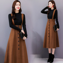 2019 new sweater wool medium length long sleeve back belt skirt