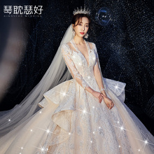 Heavy industry luxury wedding dress 2019 new bridal dress luxury luxury forest super fairy dream net red trembling voice Princess