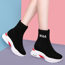 Sock shoes new elastic black thick bottom casual inside heightening boots