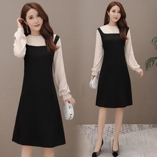 Big fat mm early autumn foreign style new belly covering dress