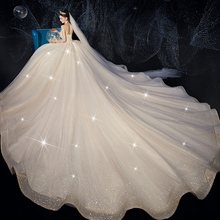Brassiere wedding dress 2019 new bride luxury super fairy dream simple Satin show thin tail starry sky