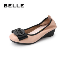 Belle bow single shoes female commuter new store in spring 2019 same leather slope heel casual shoes t7p1daq9