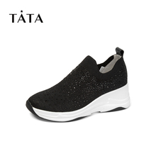 Tata / him and her 2019 autumn counter same cloth water drill set foot slope heel thick bottom casual women's shoes fhf08cm9
