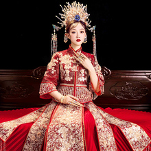 Xiuhe bride's New Wedding Toast in 2019 Chinese style ancient wedding dress Chinese style show and dress autumn