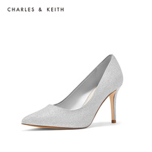 Charles & Keith low top shoes ck1-60361168 European and American glitter women's pointed high heels