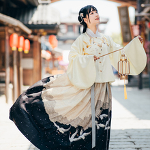 Han Shanghua lotus river Crane Dance original Ming system square collar jacket skirt Han suit female traditional cloud crane embroidery autumn and winter suit