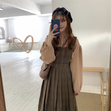 Winter new loose and thickened show thin autumn and winter long strap two piece suit retro dress children's winter skirt