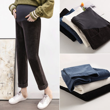 Pregnant women's pants in autumn and winter wear Plush bottoming pants corduroy in spring and autumn fashion mother's pants wide leg pants in autumn