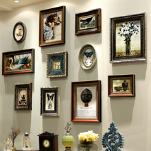 Add color, paint living room, American style retro and nostalgic photo wall, Nordic creative European style solid wood wall picture frame combination