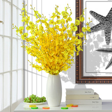 Dancing orchid simulation flower suit yellow artificial flower orchid household living room dining table TV cabinet decoration flower ornament