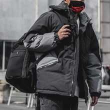 Fashion color matching hooded cotton clothes men's fashion 2019 winter new trend boys' loose padded jacket warm and thickened cotton clothes