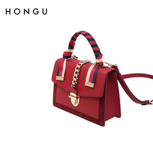 Red Valley Shangxin small bag women 2019 new leather one shoulder handbag classic stripe lock Crossbody small square bag
