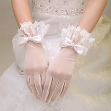 Bride's Wedding Garment, Glove, Lace, Short White Butterfly Knot Spring Accessories