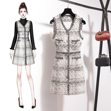 Woolen two piece skirt with plaid in autumn and winter