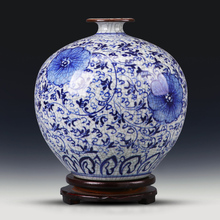 Jingdezhen Porcelain Vase ornament flower device in living room hand painted antique blue and white porcelain vase Chinese style home decoration