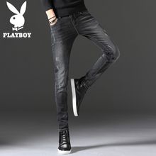 Playboy slim Korean spring and autumn black jeans