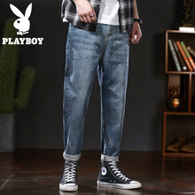 Playboy 2019 autumn men's jeans, loose straight, wide legged trousers, tide pants, men's trousers, Korean version, daddy's trousers.