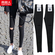 Pencil hole bottomed little black pants women wear 2019 new slim high waist tight little feet black spring and autumn pants