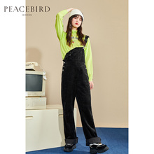 Taipingniao black corduroy new high waist slim back pants in autumn and winter
