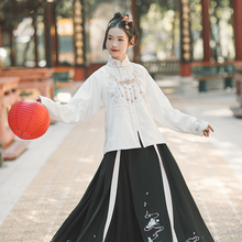 Han shanghualian River Snow Hanfu women's original Ming made straight collar jacket skirt Camellia embroidery warm daily autumn and winter clothing