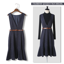 Yu sister's thin dress with shoulder strap in autumn and winter