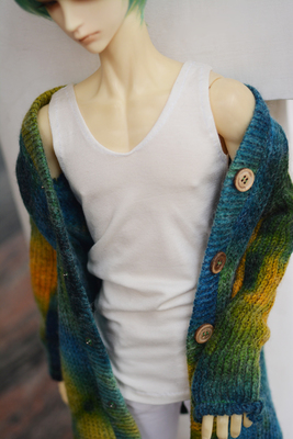 taobao agent ◆Bears◆BJD baby clothes A027 Furry White Modal Deep V Long Vest 1/4&1/3&Uncle