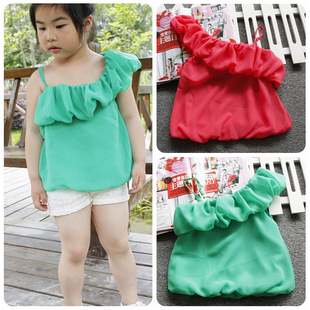 Shocking simple sale clearance green girls color into children's clothing Korean version of the non-return vest sling clearance