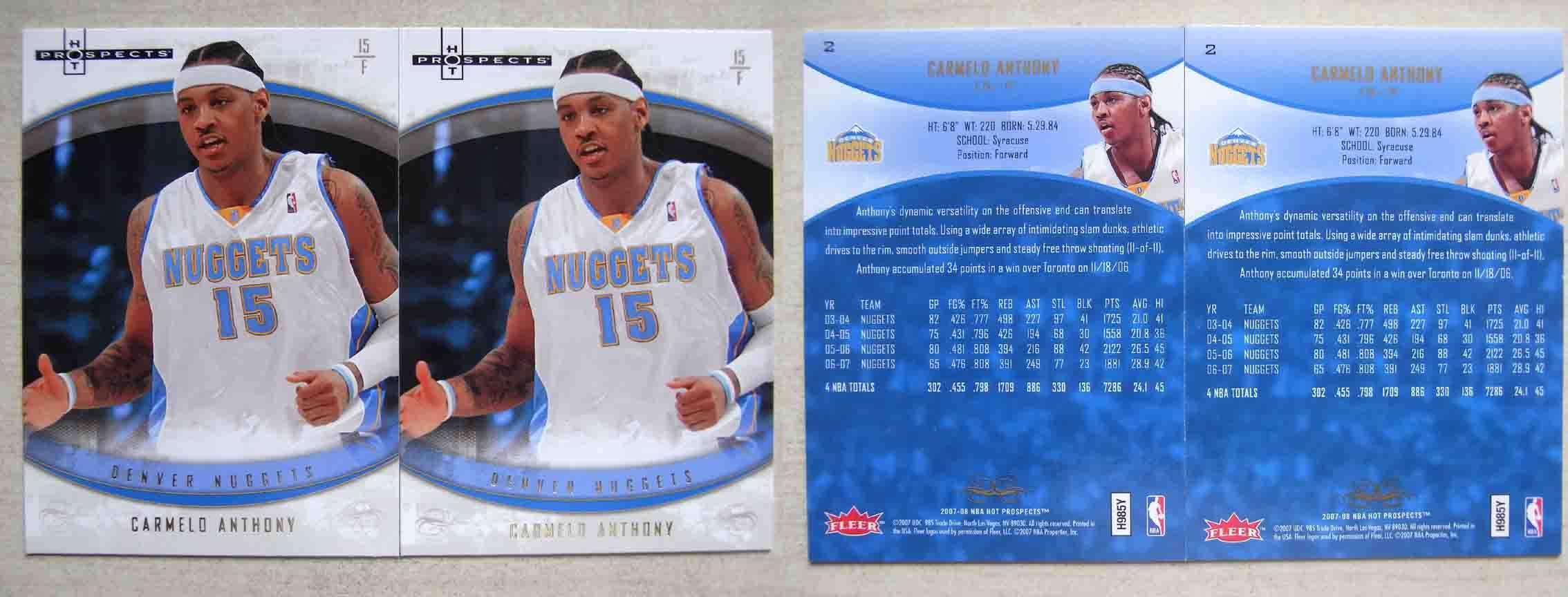 Фанатская атрибутика OTHER CARMELO ANTHONY 07 FLEER HOT PROSPECTS OTHER / Other