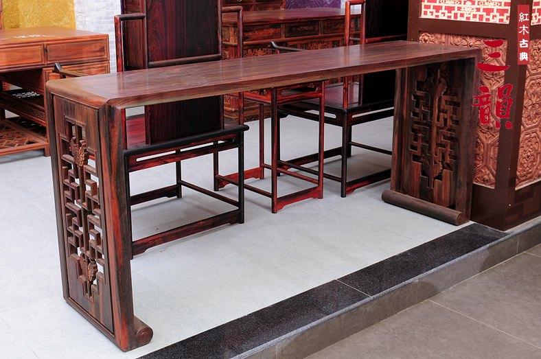 Красный Деревянная мебель Мин и Цин древняя классический копия Антикварная мебель / Кохин Далбергин Стол / Лаос красный Таблица Suanzhi Qin Guzheng