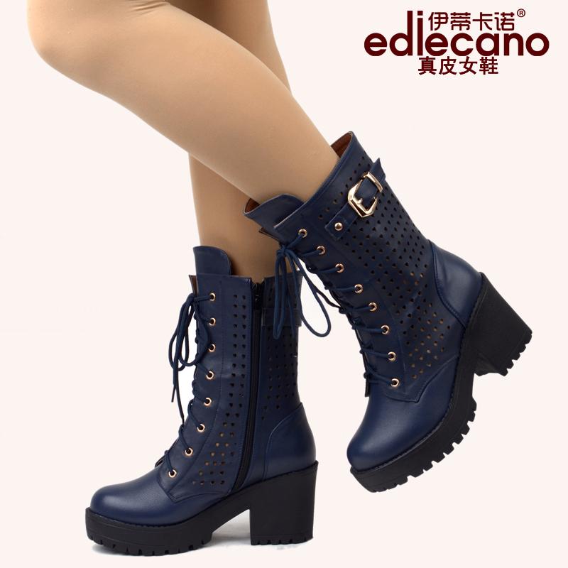 2014冬季新款女高筒靴真皮韩版长靴高跟粗跟圆头套筒靴骑士女靴子
