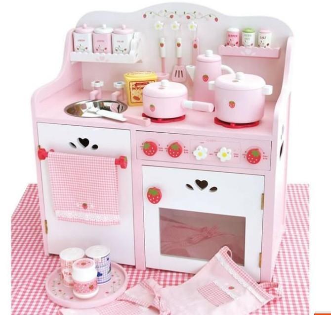 厨房过家家草莓小厨具木制超大a厨房公主玩具灶台煤气灶儿童玩具