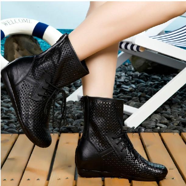 2019秋季新款真皮镂空罗马靴牛皮洞洞短靴平跟内增高女女靴女单靴