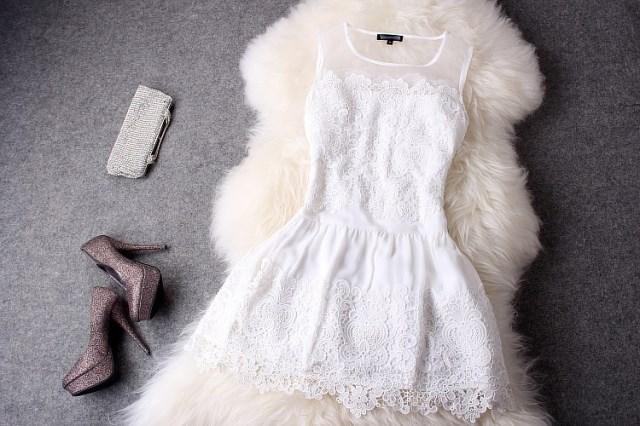 2019新款短款背心服裙伴娘年会裙平时可穿蕾丝白色晚宴会晚装小礼