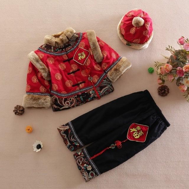 儿童唐装男童冬装宝宝新年装棉服加厚棉衣冬季小孩周岁福字套装