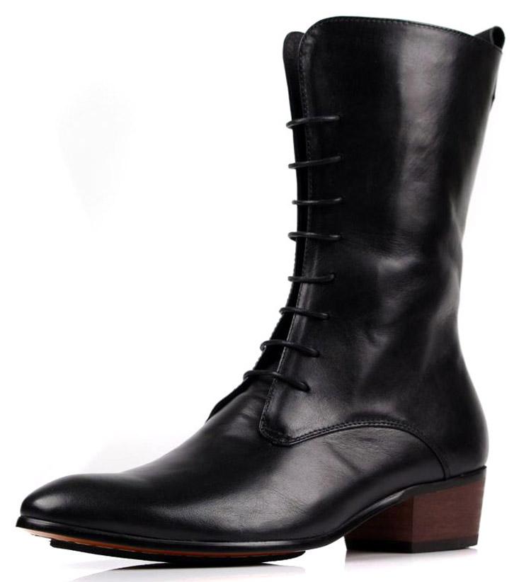 高筒男式皮靴英伦骑士男靴潮黑色户外马丁靴秋冬长筒靴靴子