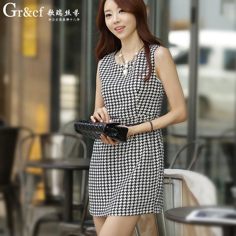歌瑞丝芬 2015春装新款韩版修身包臀背心连衣裙女款格子一步裙OL