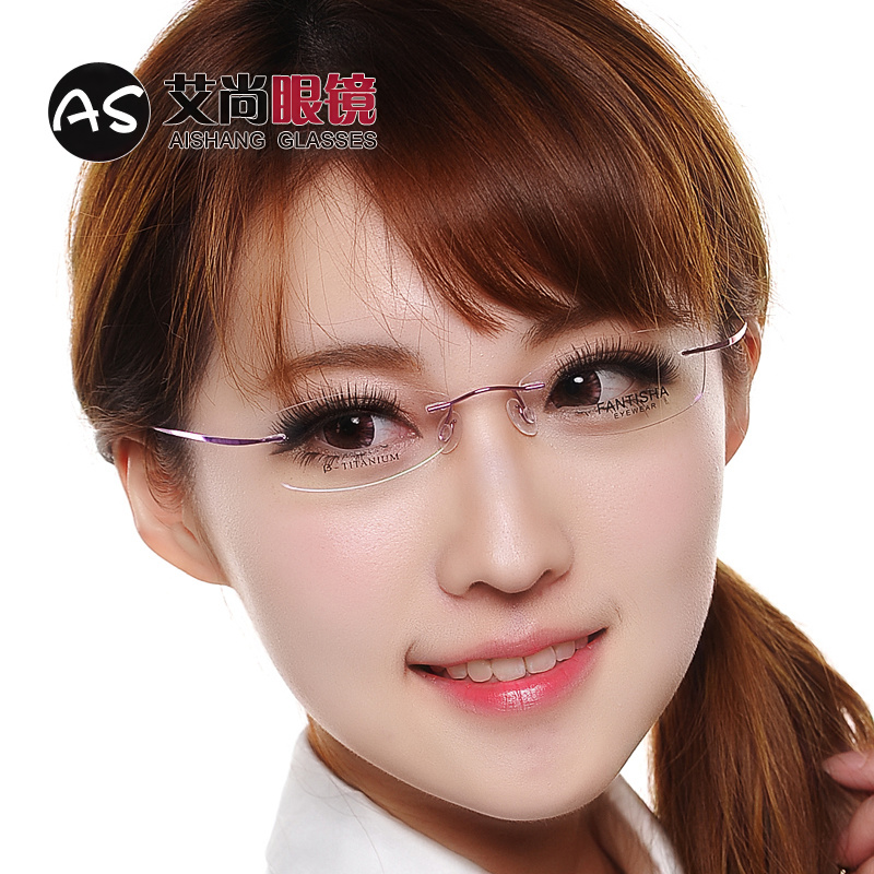 b0eb2be8449c Genuine ultra-light B titanium alloy rimless glasses frame men and women  myopia glasses frame tide with the finished product color radiation  protection