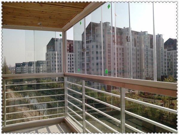 Балконное окно Шанхай профессиональное изготовление подгонянных алюминиевых профилей безрамное балкон уплотнение окна балкон, 8мм закаленное стекло.