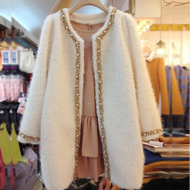 米可帛恩2013秋冬装新款顺毛羊毛呢大衣紫色外套ZQ4004