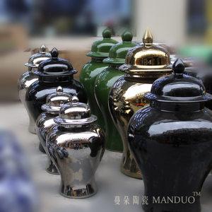 景德镇黑色瓷器将军盖罐 金色银色时尚陶瓷盖罐 现代软装饰品