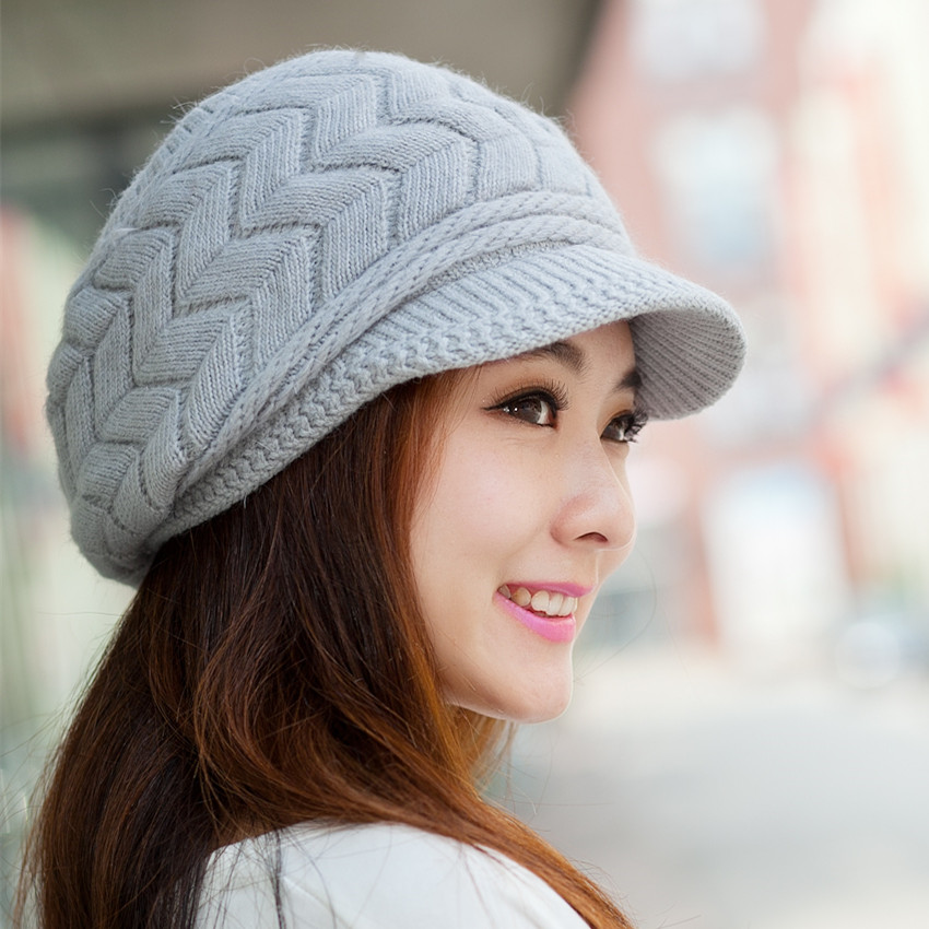 8a34cf17a776 Hat Korean ladies autumn and winter beret knitted earmuffs wool hat rabbit  fur hat tide winter thick warm Korean version