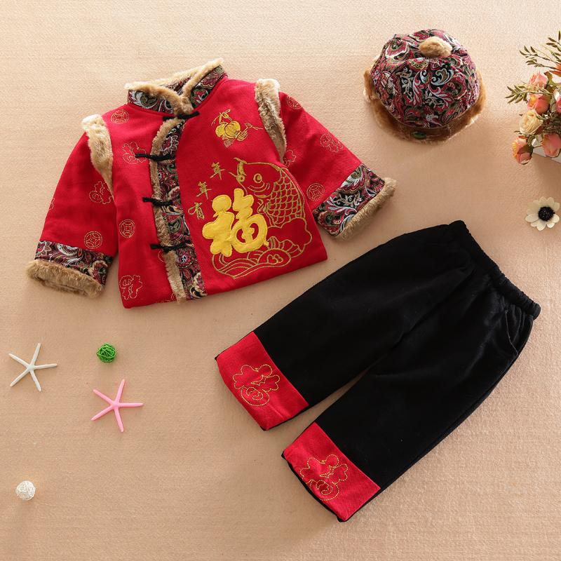 男童唐装三件套装幼小童宝宝棉袄新年装冬季加厚保暖喜庆福字棉衣