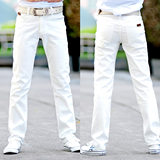 Original design men's brands light pure white jeans small straight slim trousers Korean version of micro-elastic leisure