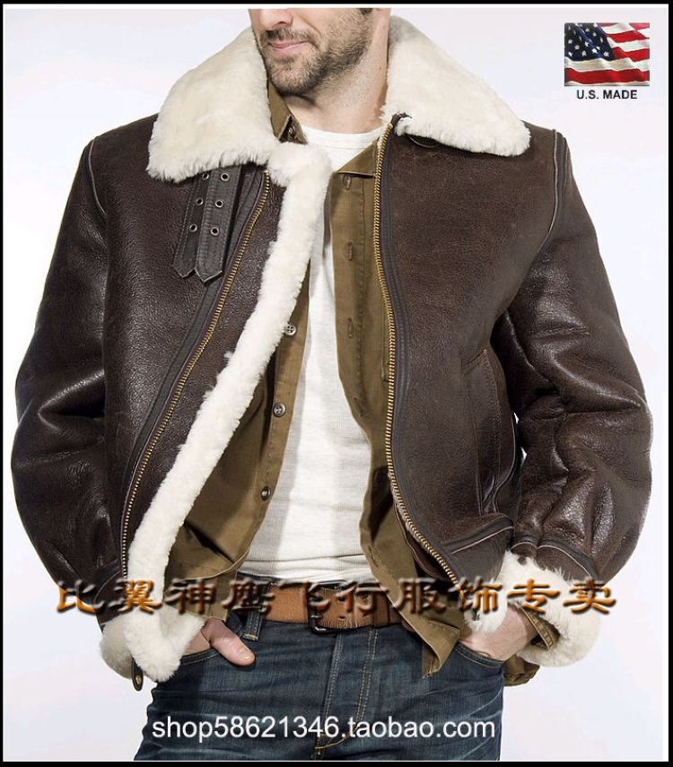 faaa2bd61 Schott NYC China total on behalf of the United States fur one sheep skin  slim model B3 bomber jacket 257S