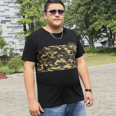 Tide brand fat brother large size men fat man loose camouflage casual compassionate tide fat plus fertilizer to increase short-sleeved T-shirt summer