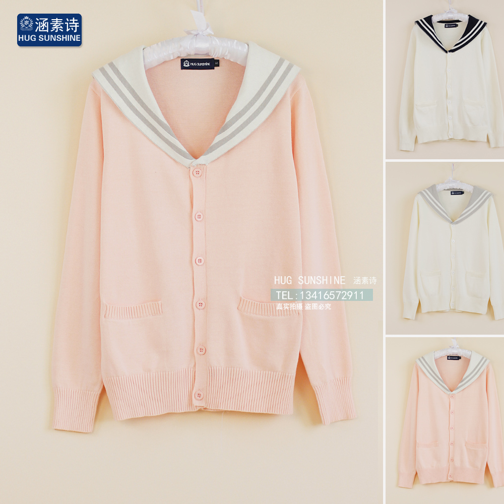 navy College cardigan sweater the suit wind uniform cardigan sailor collar version female Korean sweater of qSTtSwrx